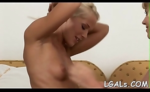 Hotties are undressing, caressing forever other and play with toy