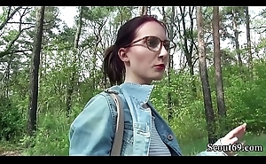 German Scout - College Redhead Legal age teenager Lia in Public Casting
