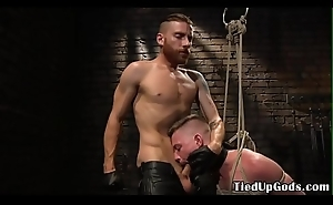 Tied up s&m get together have deepthroats inked doms cock