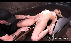 Flimsy pussy slave toyed in hogtie