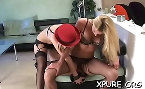 Busty female-dominant makes him give her foot and ass worship