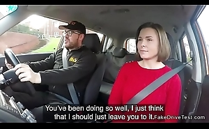 Driving instructor bangs take charge student in car