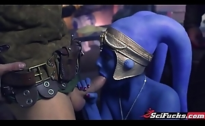 Jedi General Aayla Secura is captured and pumped by 2 revels