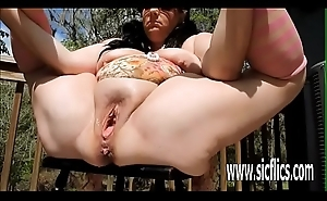 Double fisting plus champagne bottle fucked BBW