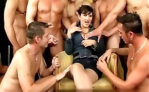 gangbang with an increment of piddle orgy for that woman