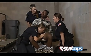 Raw MILF officers foursome with a conviced salt-water