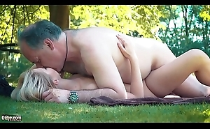 Petite teen screwed hard by grandpa on a picnic this babe blows and swallows him