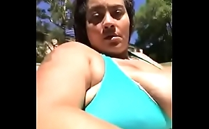Busty BBW Teasing In Pool With Bikini Primarily