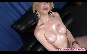 Seductive transsexual oiledup before solo wanking