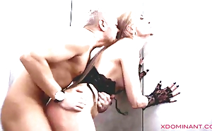 Blonde in stockings anally dominated by her master