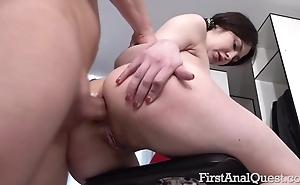 Brunette takes huge phallus into her tight asshole