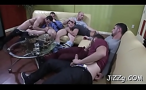 Undress hunks fucking on the couch in serious group sex scenes
