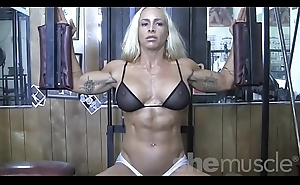 Blonde Sexy Female Bodybuilder in Behold Through Top Works Out