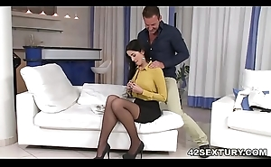 Loren Minardi enervating stockings while she procurement assfucked